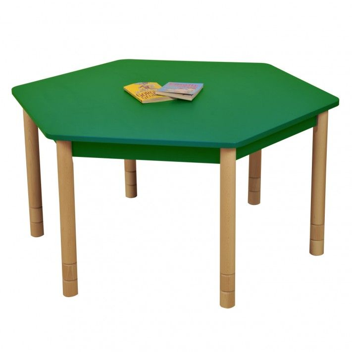 Height Adjustable Beechwood Hexagon Table Green Classroom